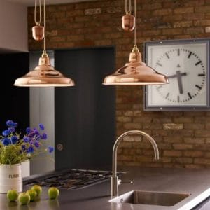 Rise and fall ceiling pendant lighting bespoke lights these kitchens show rise and fall pendants used for lighting over kitchen islands the image on the left shows two provence pendants in polished nickel over aloadofball Image collections