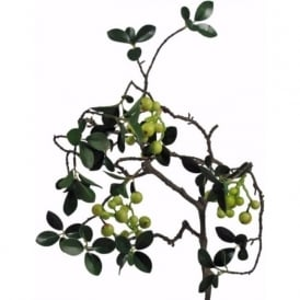 EVERGREEN WINTER BERRY faux foliage stem with pale green berries