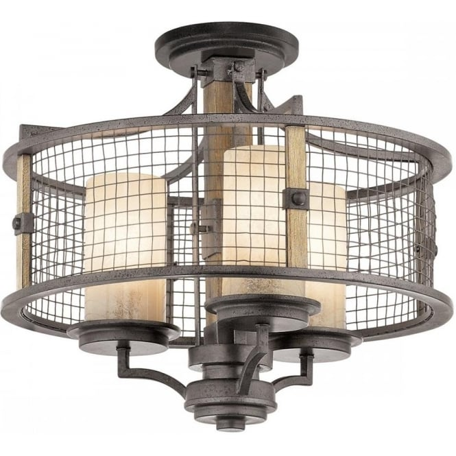 meet 74aec eb3fd AHRENDALE dual mount pendant or flush fitting rustic ceiling light