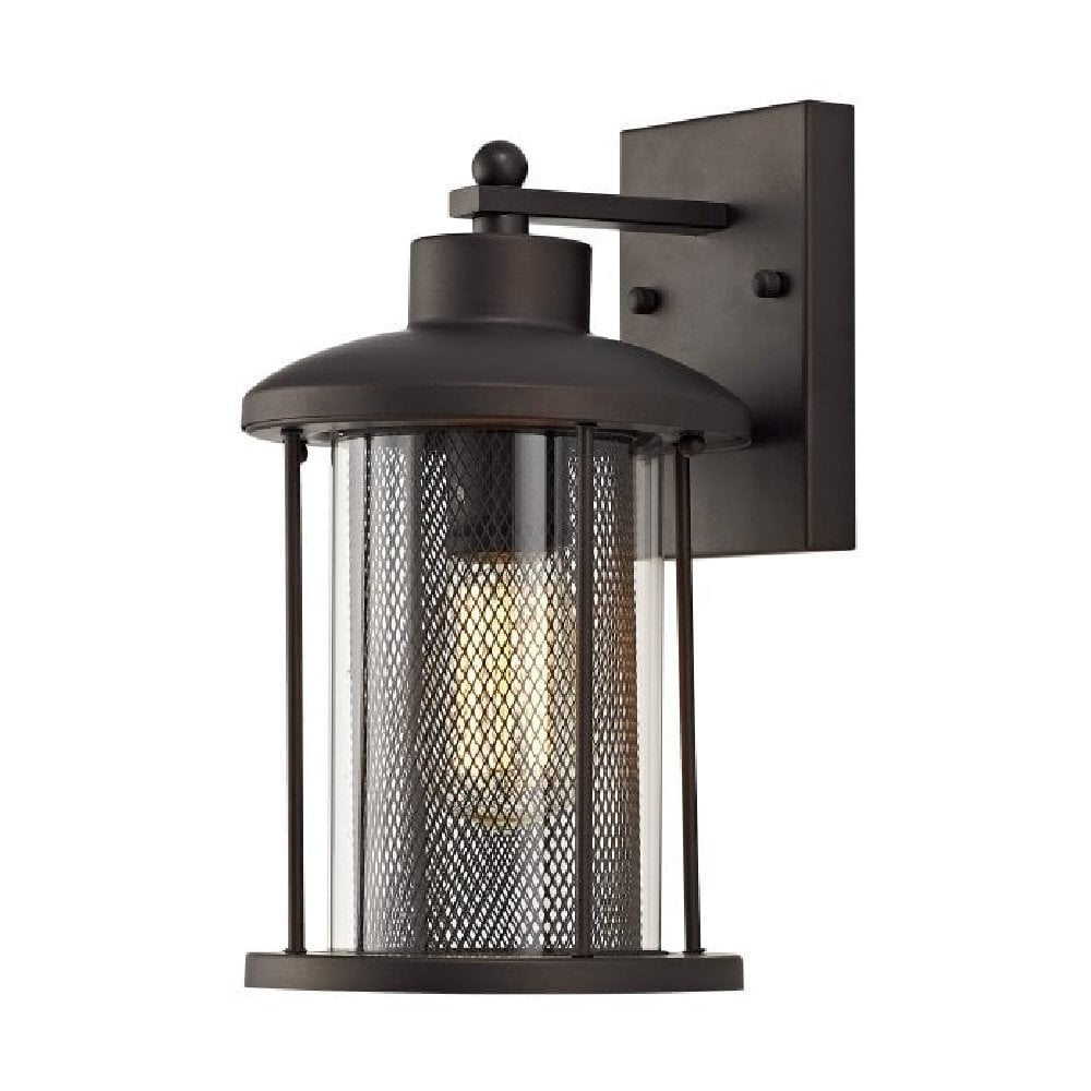 Traditional Bronze Outside Wall Light With Inner Vintage Mesh Shade