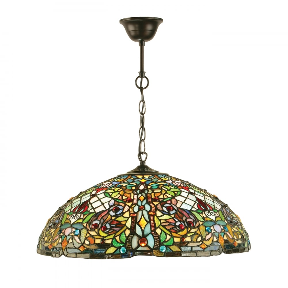 Anderson Tiffany Stained Glass Ceiling Pendant Light Large