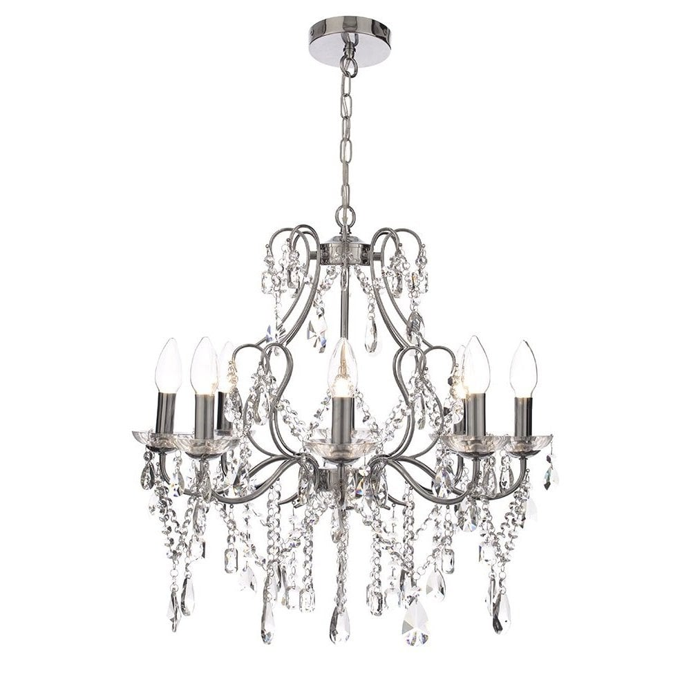 Annalee Large LED 5 Light Bathroom Chandelier Chrome | Litecraft Lighting Your Home