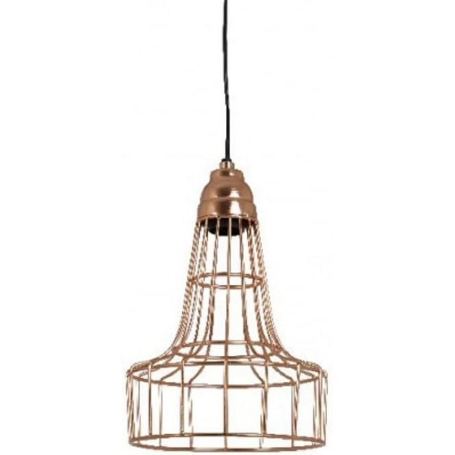 Hanging Ceiling Pendant Light With Open Frame Rose Gold