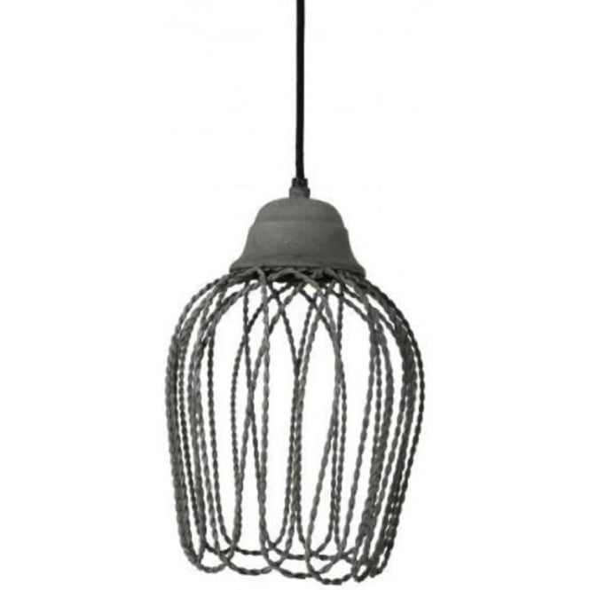 Antique, Guest Designer & Limited Edition Lights BETTINA open wire frame ceiling pendant light - concrete grey finish
