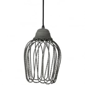 BETTINA open wire frame ceiling pendant light - concrete grey finish