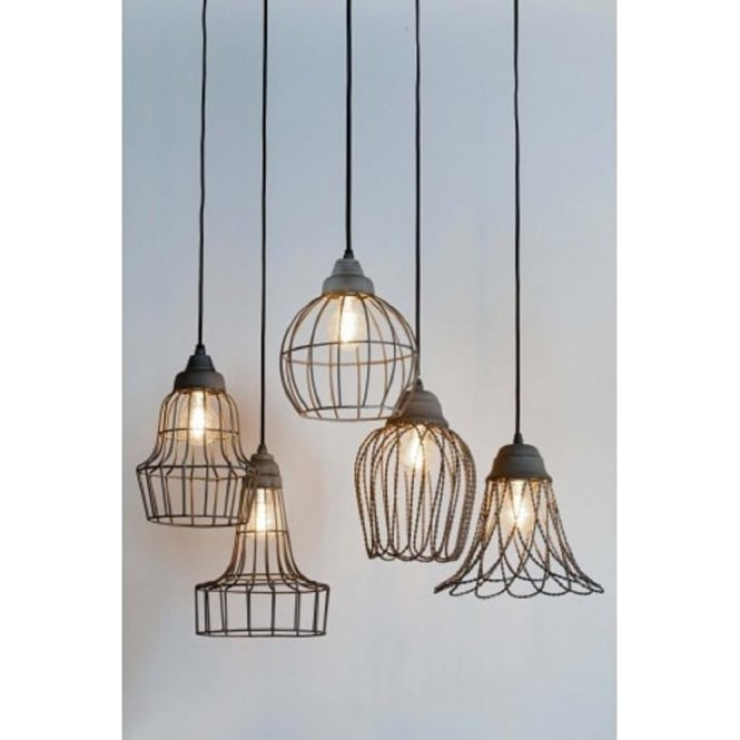 Ceiling Pendant Light with Industrial Style Grey Open Frame Wire Shade