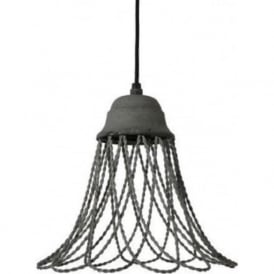BEVERLY open wire frame ceiling pendant light - grey cement finish