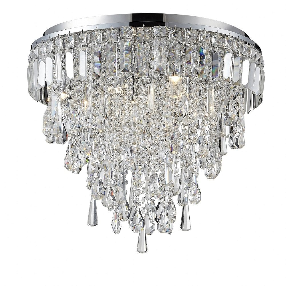 Sparkly Flush Fit Waterfall Chandelier IP44 Safe for ...