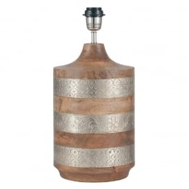 CLADDED wooden barrel table lamp with silver metallic bands