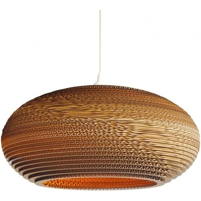 Oval Disc Shaped Ceiling Pendant Light In Recycled