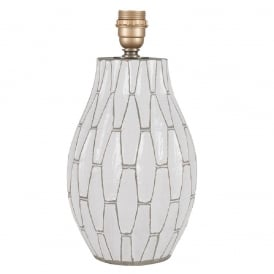 GEOMETRIC terracotta table lamp base in white and grey finish