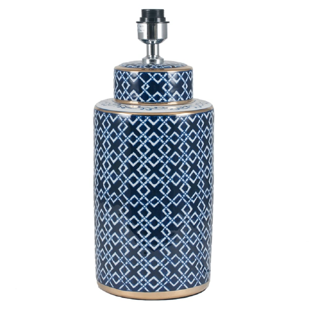 indigo blue ceramic glazed table lamp base with white diamond pattern. Black Bedroom Furniture Sets. Home Design Ideas