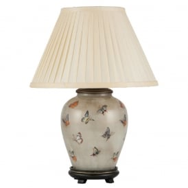 JENNY WORRAL BUTTERFLIES small urn patterned glass table lamp with almond pleated shade