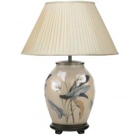 JENNY WORRALL ARUM LILY medium oval glass table lamp with almond silk shade