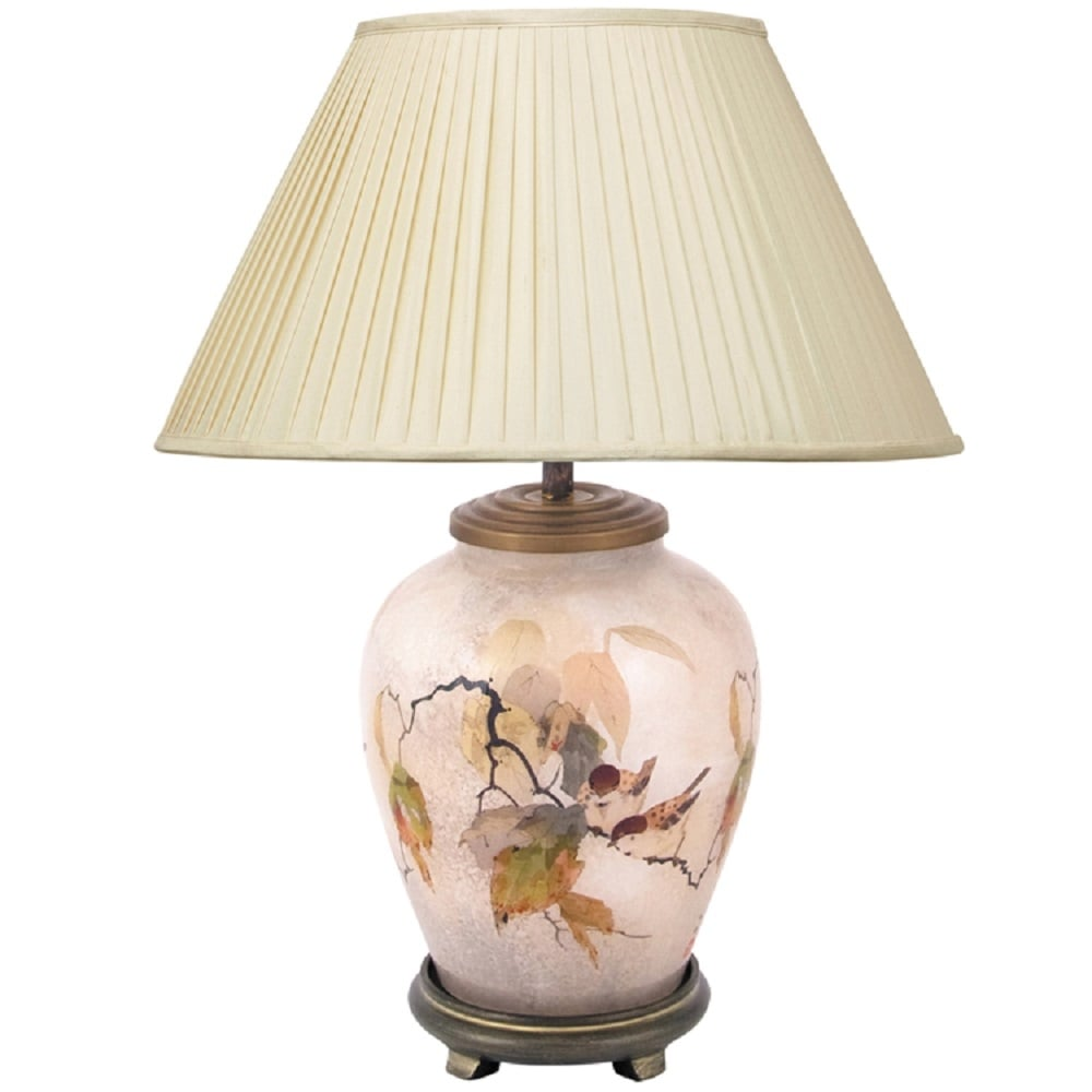 Chinese birds table lamp by jenny worral hand blown glass painted base jenny worrall chinese birds small glass table lamp with silk pleated shade mozeypictures Images