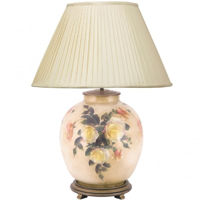 Antique, Guest Designer & Limited Edition Lights JENNY WORRALL CLASSIC ROSE large round glass table lamp complete with almond silk shade