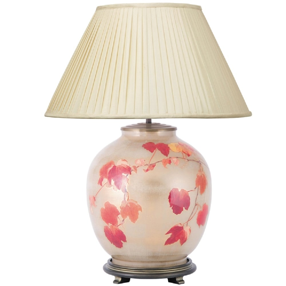 Jenny worrall collingridge table lamp with autunm vine leaves jenny worrall collingridge vine large patterned glass table lamp with almond pleated shade mozeypictures Choice Image