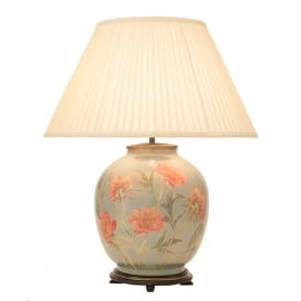 JENNY WORRALL CORAL PEONY large round patterned glass table lamp with almond pleated shade