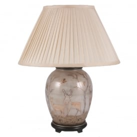 JENNY WORRALL DEER medium oval shaped glass table lamp with silk pleated shade