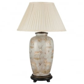 JENNY WORRALL DEER tall urn shaped glass table lamp with silk pleated shade