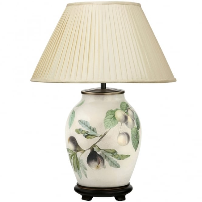 Antique, Guest Designer & Limited Edition Lights JENNY WORRALL FIGS & PLUMS medium oval patterned glass table lamp with almond pleated shade