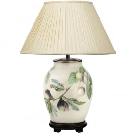 JENNY WORRALL FIGS & PLUMS medium oval patterned glass table lamp with almond pleated shade