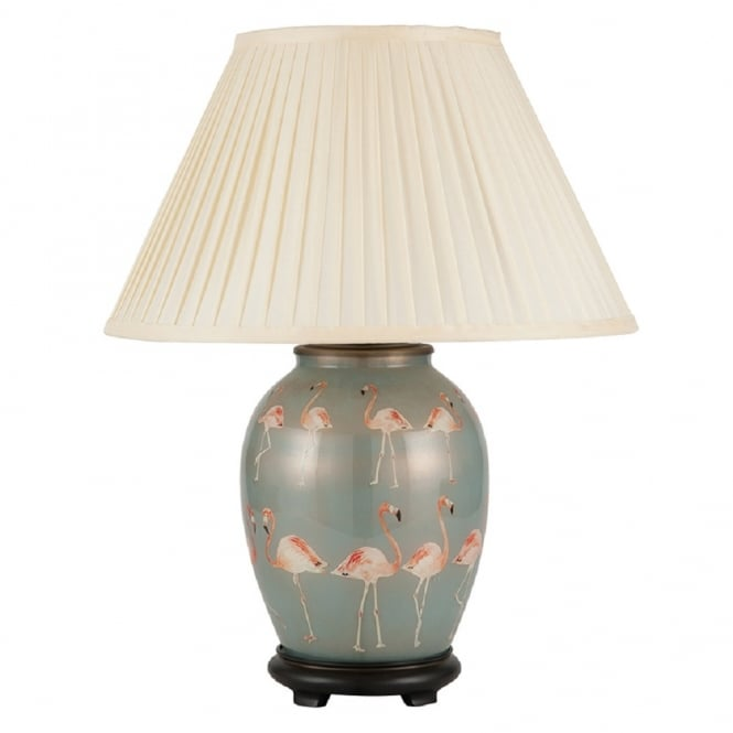 Antique, Guest Designer & Limited Edition Lights JENNY WORRALL FLAMINGOS medium oval patterned glass table lamp with almond pleated shade