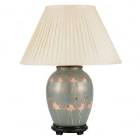 JENNY WORRALL FLAMINGOS medium oval patterned glass table lamp with almond pleated shade