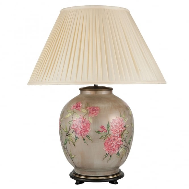 Antique, Guest Designer & Limited Edition Lights JENNY WORRALL FLOWERS large patterned glass table lamp with almond pleated shade