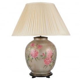 JENNY WORRALL FLOWERS large patterned glass table lamp with almond pleated shade