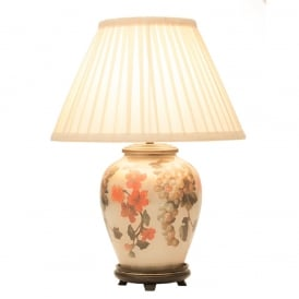 JENNY WORRALL FRUIT & FLOWER small patterned glass table lamp with almond pleated shade