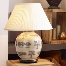 JENNY WORRALL GUINEA FOWL large round patterned glass table lamp with almond pleated shade
