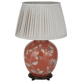 JENNY WORRALL HONEYSUCKLE large round glass table lamp complete with taupe shade