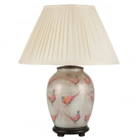 JENNY WORRALL PHEASANT medium oval patterned glass table lamp with almond pleated shade