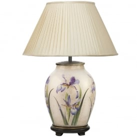 JENNY WORRALL PURPLE IRIS medium oval patterned glass table lamp with almond pleated shade