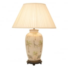 JENNY WORRALL SAFARI large urn glass table lamp complete with silk shade