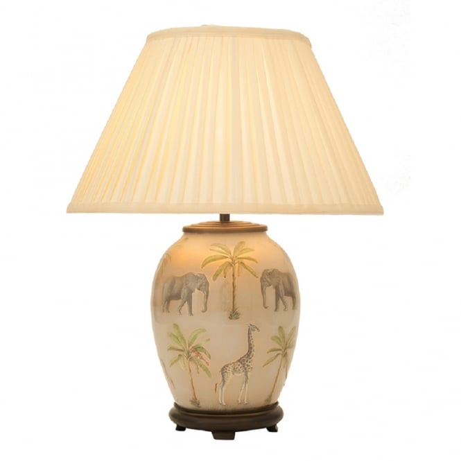 Antique, Guest Designer & Limited Edition Lights JENNY WORRALL SAFARI medium oval glass table lamp complete with silk shade