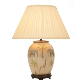 JENNY WORRALL SAFARI medium oval glass table lamp complete with silk shade