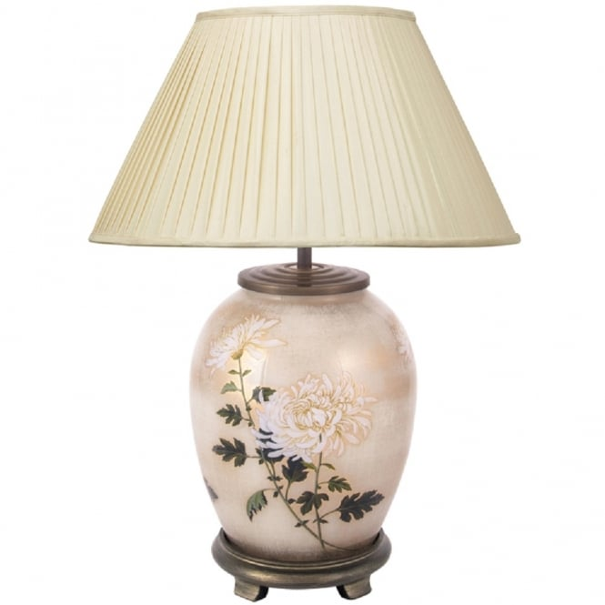 Antique, Guest Designer & Limited Edition Lights JENNY WORRALL WHITE CHRYSANTHEMUM medium oval patterned glass table lamp with almond pleated shade