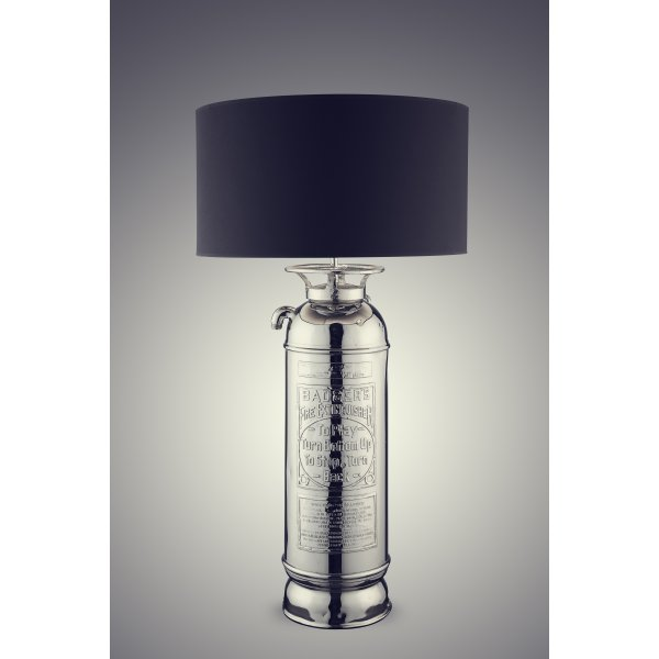 Victorian Fire Extinguisher Table Lamp With Black Drum Shade