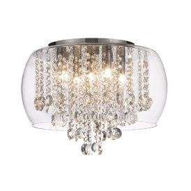 NORE Luxury Flush Fitting Chrome And Crystal Bathroom Ceiling Light With  Glass Surround