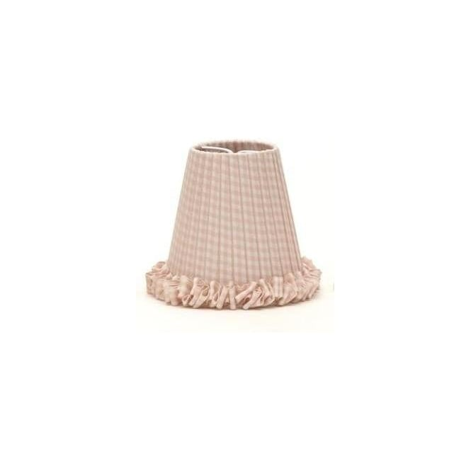 Pink gingham clip on candle shade with ruched border pair of pink gingham candle shades aloadofball Images