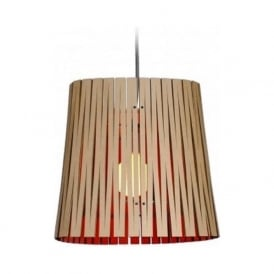RIPLEY recycled cardboard ceiling pendant light (natural/red)