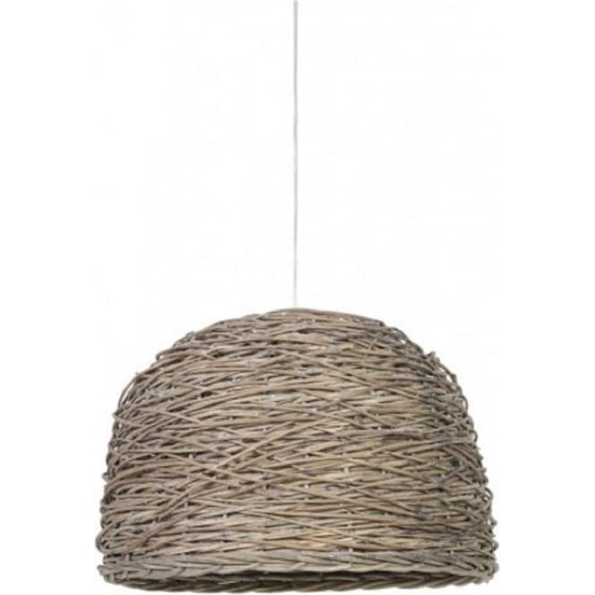 Wooden Ceiling Pendant Light with Dome Shaped Grey Basket Weave Shade