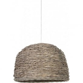 ROTAN grey woven basket ceiling pendant light - large
