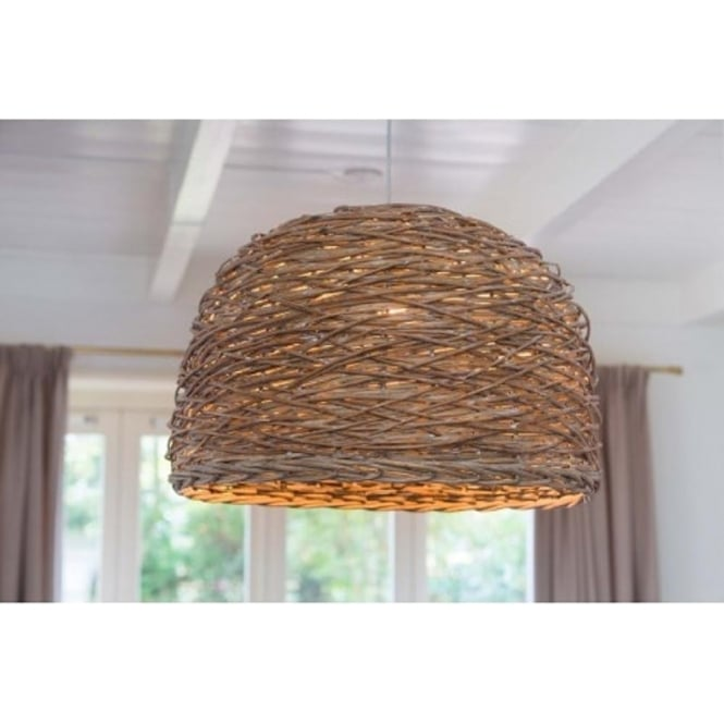 Wooden ceiling pendant light with dome shaped grey basket weave shade rotan grey woven basket ceiling pendant light large aloadofball Images
