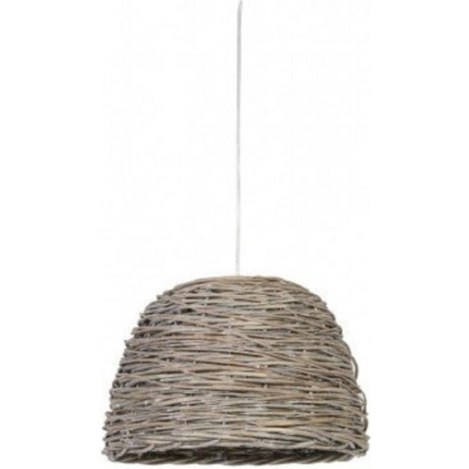 Antique, Guest Designer & Limited Edition Lights ROTAN grey woven basket ceiling pendant light - small