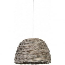 ROTAN grey woven basket ceiling pendant light - small