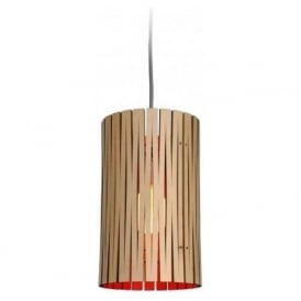 SELWYN recycled cardboard ceiling pendant light (natural/red)