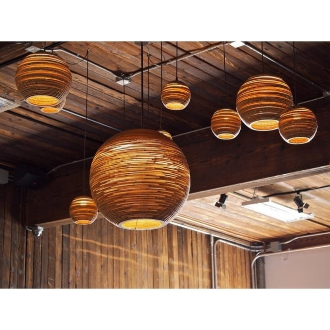 Large circular long drop feature pendant light from recycled cardboard sun recycled scraplight ceiling pendant light large aloadofball Image collections